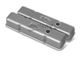SBC HOLLEY VALVE COVERS,FINNED,W/EMIS,RA