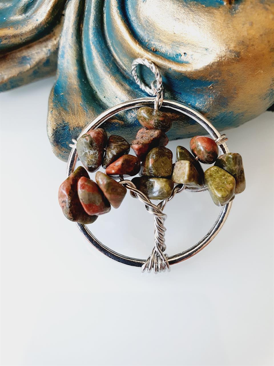 Livets träd unakit -hänge halsband grönt
