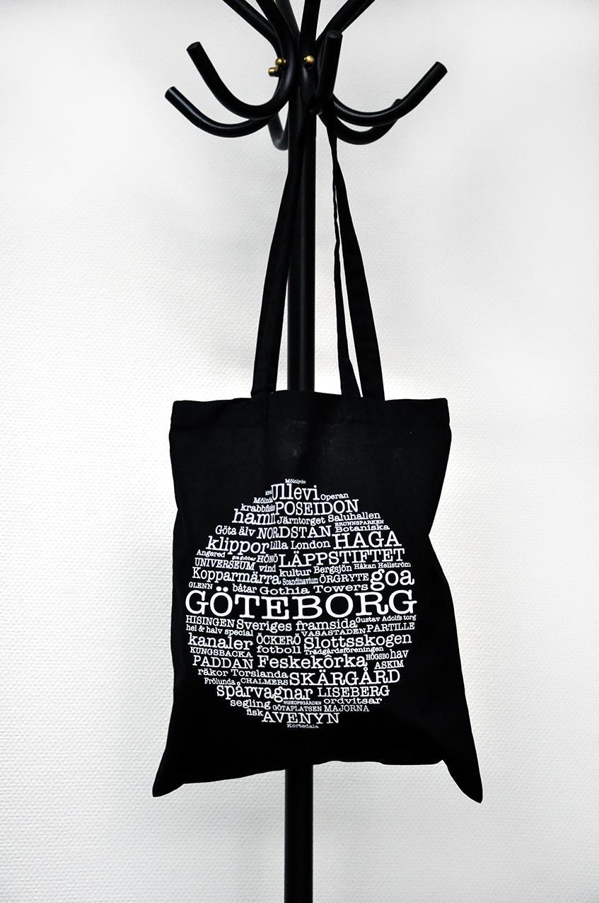 Tygkasse, Göteborg, svart/vit text
