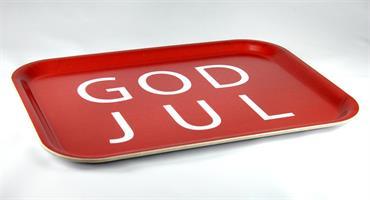 Bricka 27x20 cm, God Jul, röd/vit text