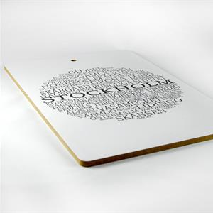 Skärbräda, Stockholm rund, vit/svart text