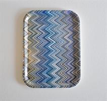 Bricka 27x20 cm, Zig zag, blå