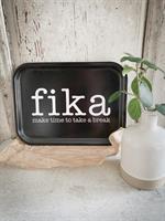 Bricka 27x20 cm, Make time FIKA, svart/vit text
