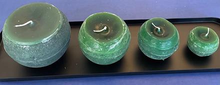 Støpt kulelys grønn, 10 cm