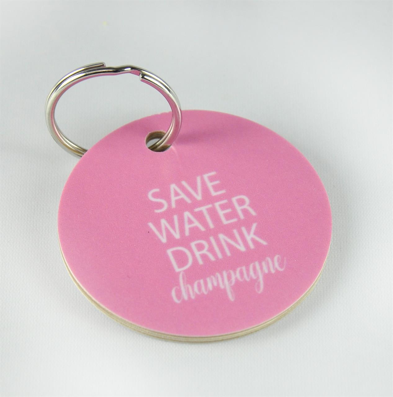 Nyckelring, Save Water, rosa/vit text