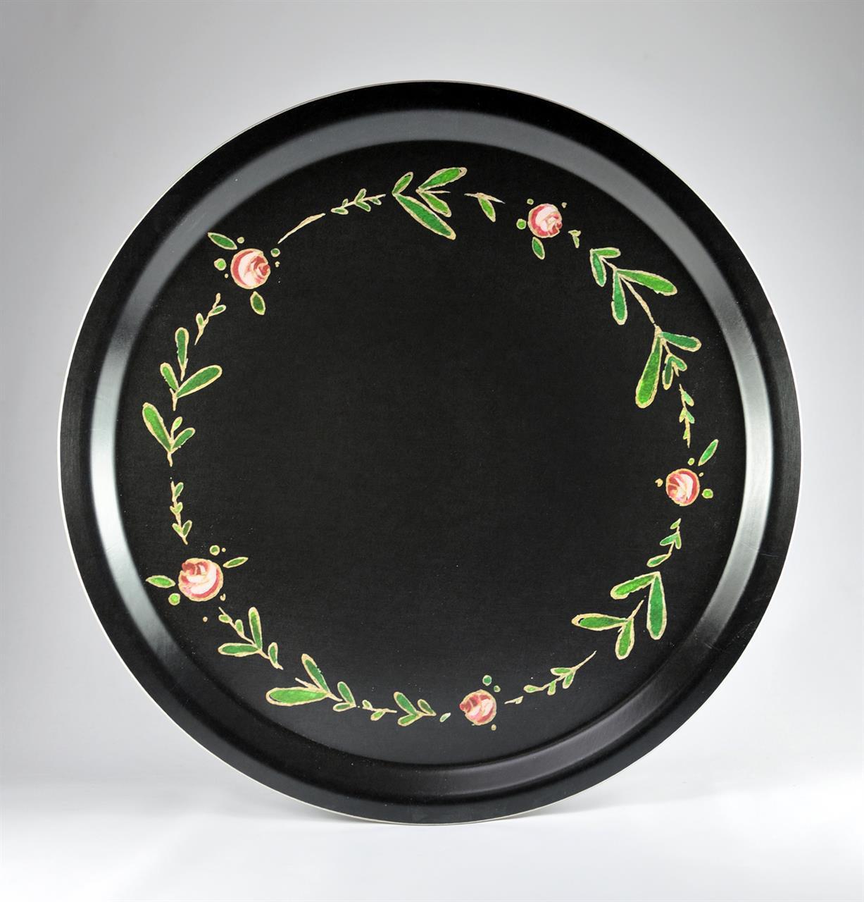 Bricka rund 31 cm, Blomkrans, svart
