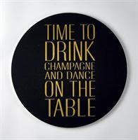 Glasunderlägg 4-p, Time to drink, svart/guldtext
