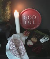 Bricka rund 31 cm, God Jul, röd/vit text