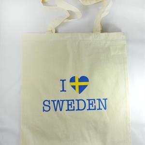Tygkasse, I love Sweden, natur/blå-gul text