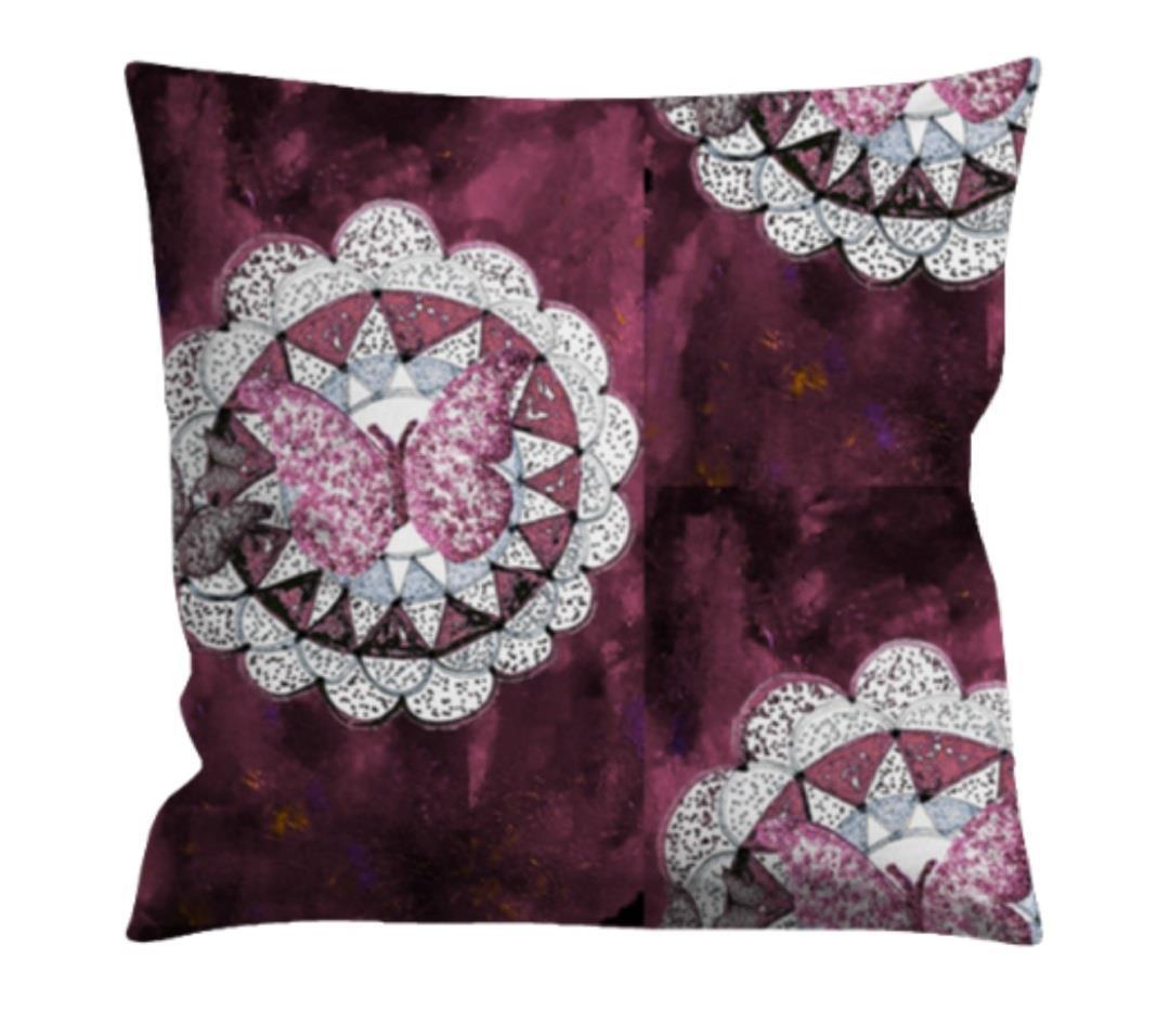 Kuddfodral indisk stil, mörk rosa