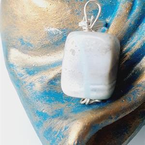 Hänge halsband Amazonit ljusblå sten