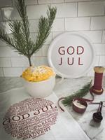 Bricka rund 31 cm, God Jul, vit/röd text