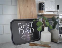 Bricka 27x20 cm, Best Dad, svart/vit text