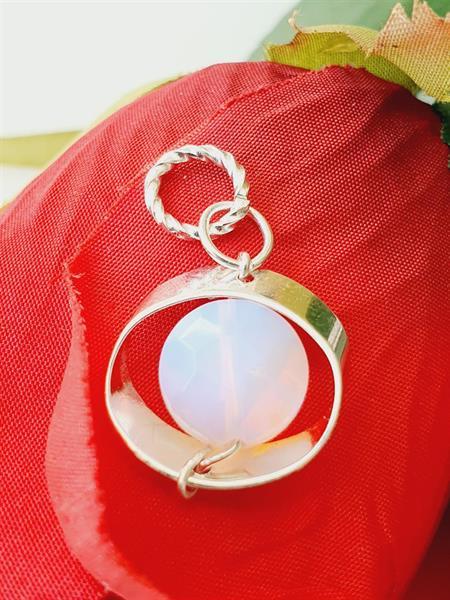 Hänge halsband opalit vit -färgmix i ljust