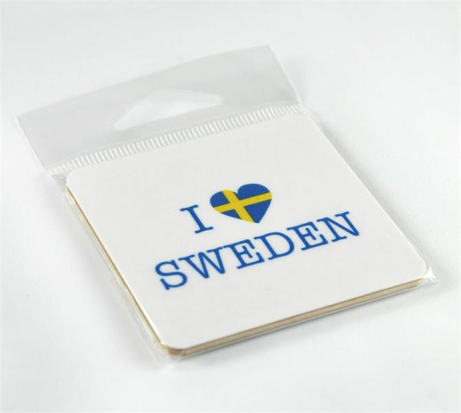 Magneter, I love Sweden, vit/blå-gul text