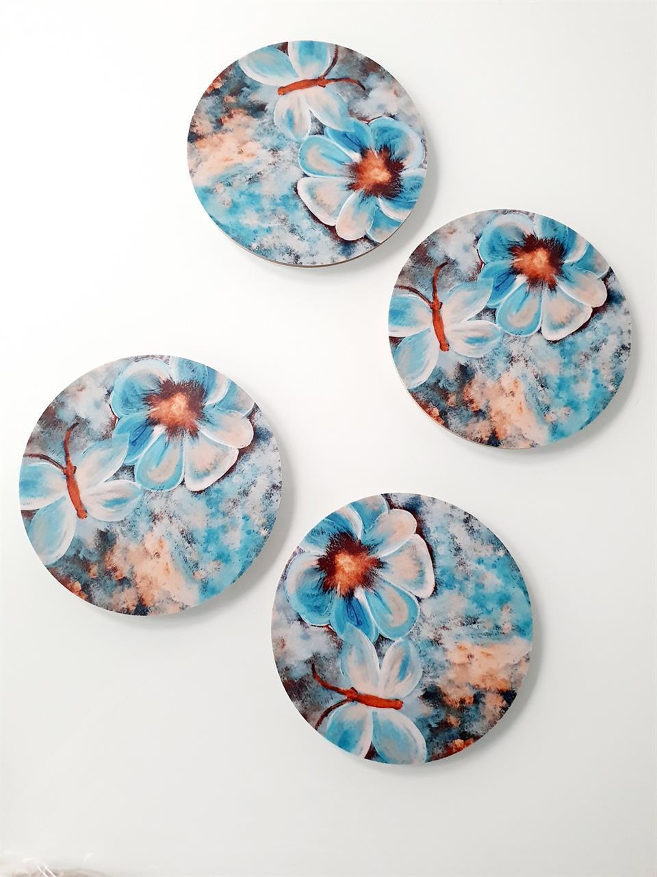 Glasunderlägg med blommor och fjäril -4 st