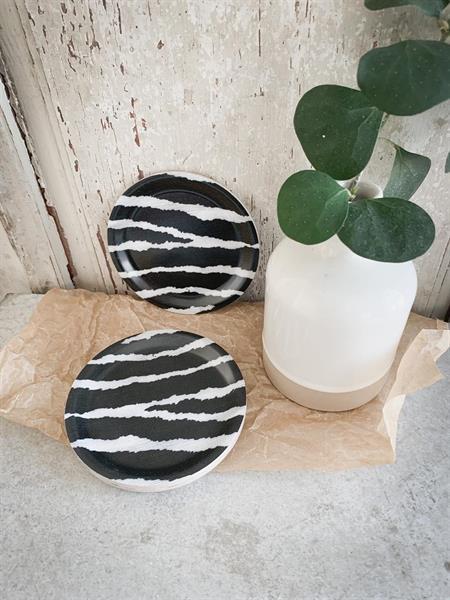 Glasunderlägg kant, Zebra, svart/vit
