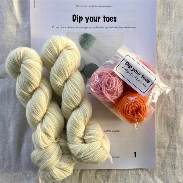 """""""Dip your toes"""" Rosa - Vit materialpaket"""