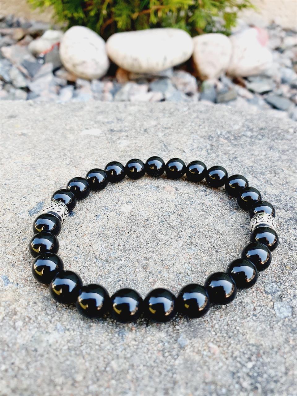 Armband svart pärlor/stenar onyx