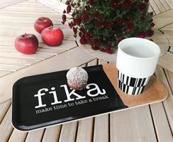 Bricka 32x15 cm kork, Make time Fika, svart/vit