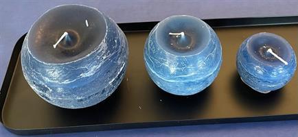 Støpt kulelys blå, 10 cm