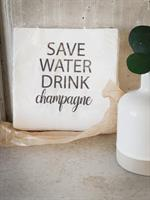 Servetter, Save water, vit/svart text, 20-p