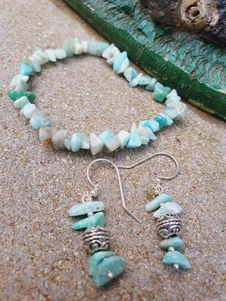 Pärlarmband och örhänge  -kombinera dina favorita stenar