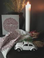 Disktrasa, God Jul-ord, vit/röd text