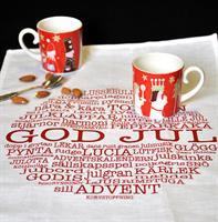Kökshandduk, God Jul-ord, vit/röd text