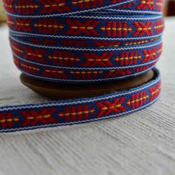 Blå/vit/röd/gul mönstrat allmogeband 9mm