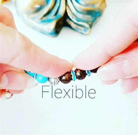 Memory wire bracelet -dubbel protection /turkos