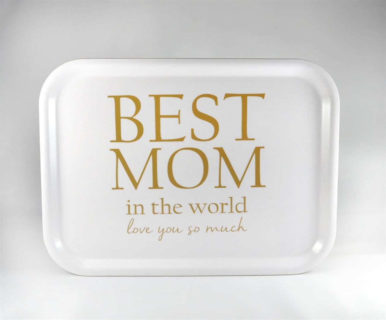 Bricka 27x20 cm, Best Mom, vit/guldtext