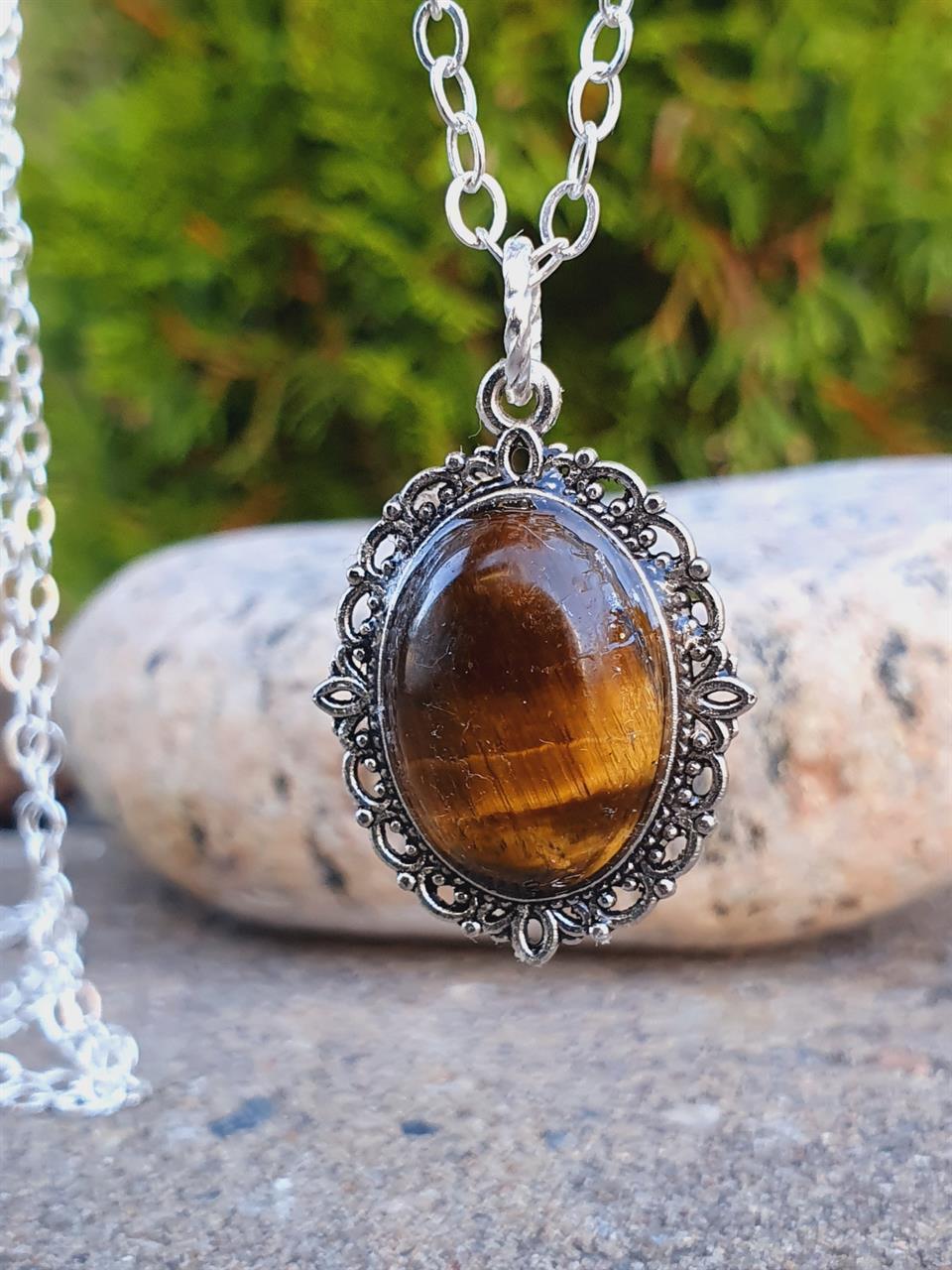 Hänge /pendel tigeröga oval sten till halsband