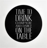 Glasunderlägg 4-p, Time to drink, svart/vit text
