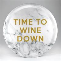 Bricka rund 31 cm, Wine down, marmor/guldtext