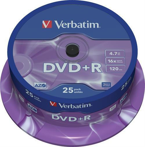 DVD+R MEDIA, VERBATIM 25-PACK