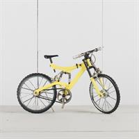 Mountainbike gul, rörliga funktioner, metall