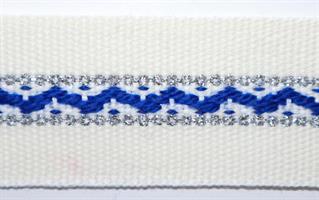 Damebånd - Hvit, blå, sølv
