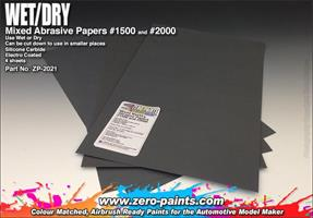 Wet and Dry Abrasive Paper #1500 and #2000 - 4 off