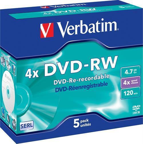 DVD-RW MEDIA, VERBATIM 4X, 5-P