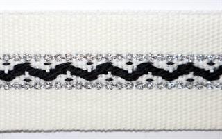 Damebånd - Hvit, svart, sølv