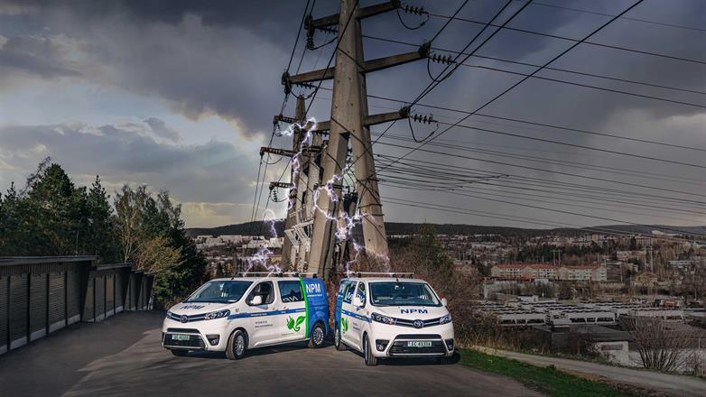 En del av vår elektriske bilpark