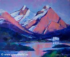 Blokktind i midnattsol, Akrylmaleri