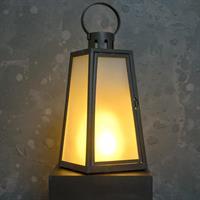 LED lykta svart med frostat glas