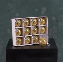 Glaskulor, 12-pack, guld