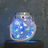 LED lykta med solcell, varmvita LED