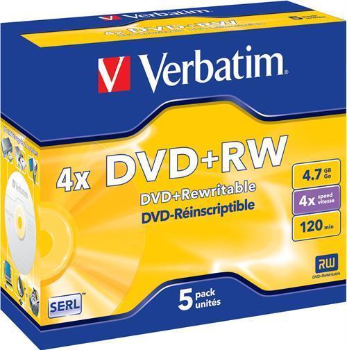 DVD+RW MEDIA, VERBATIM 4X, 5P