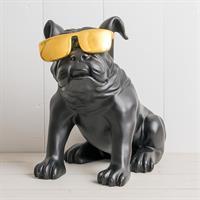 Bulldog, matt svart med solglasögon