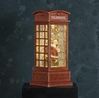 LED telefonkiosk, vattenglob, tomte
