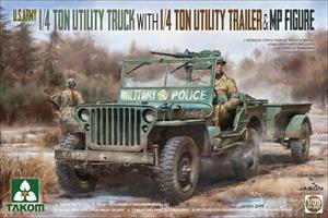 U.S. Army 1/4 ton truck & 1/4 t trailer w/figure